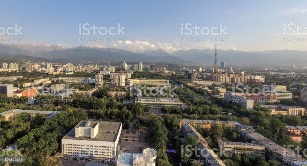 Almaty - Aerial view stock photo