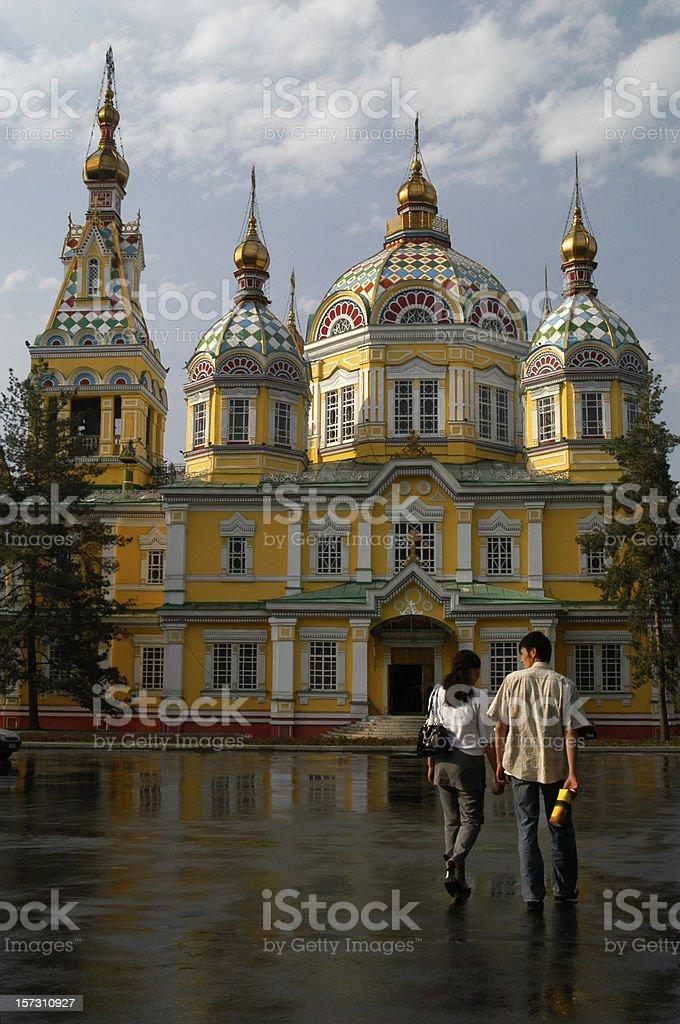 Almaty Kazakhstan Zenkov Cathedral Courtyard stock photo