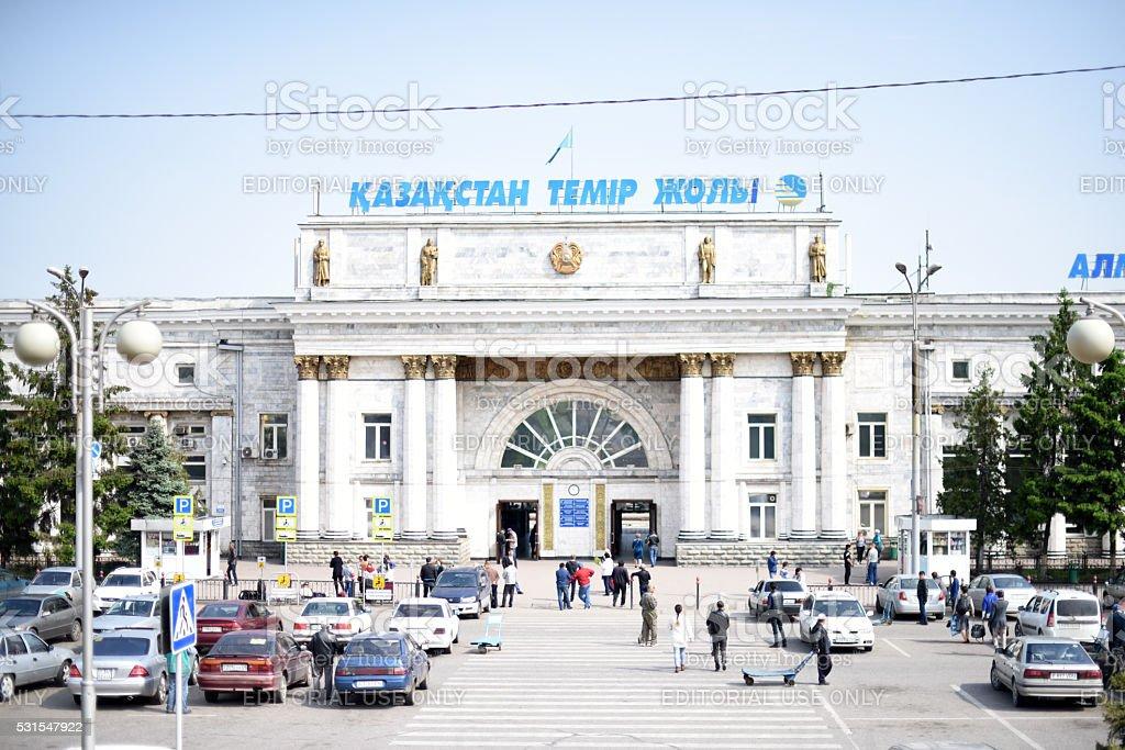 Almaty Railway Station Main Entrance stock photo