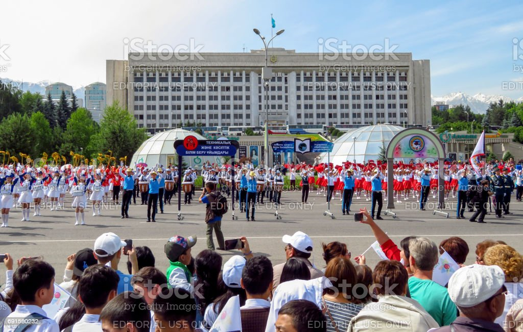 Almaty - Solemn parade of children stock photo