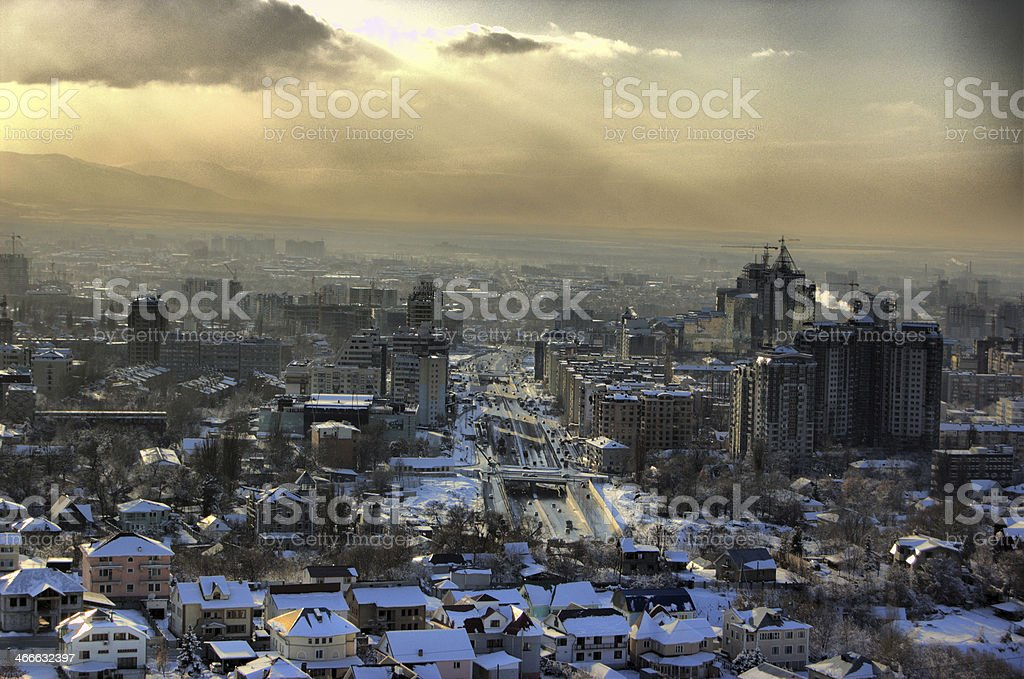 Almaty - Sunset in Winter stock photo