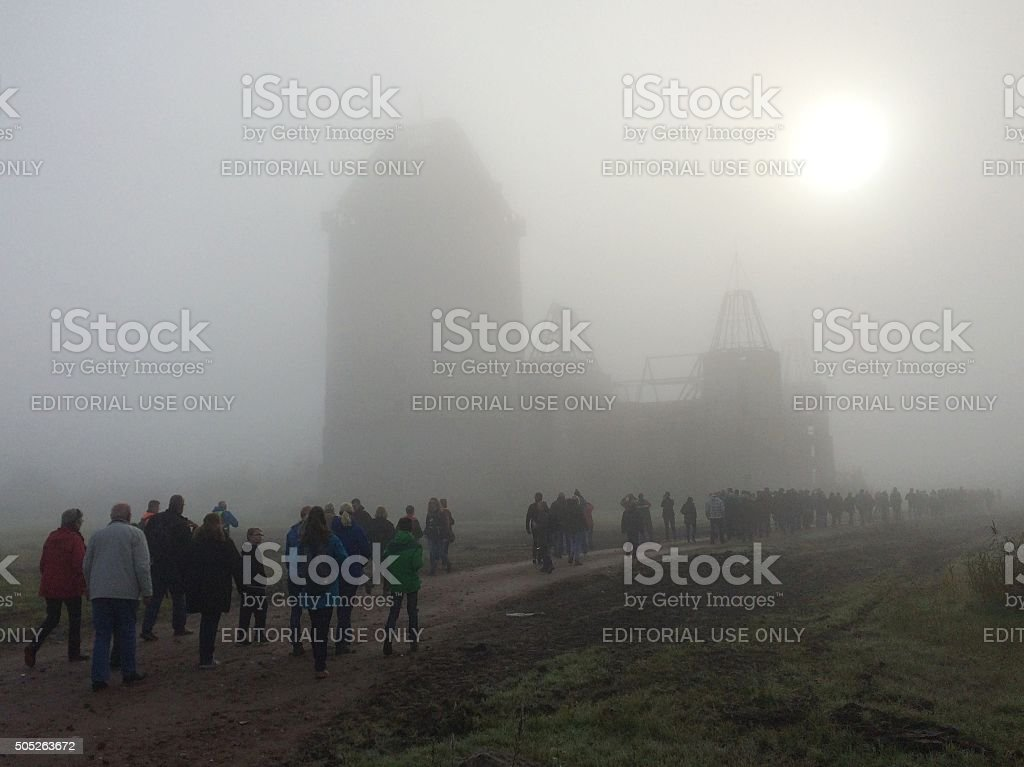 Almere Castle at a foggy morning- Modern contemporary Ruin stock photo