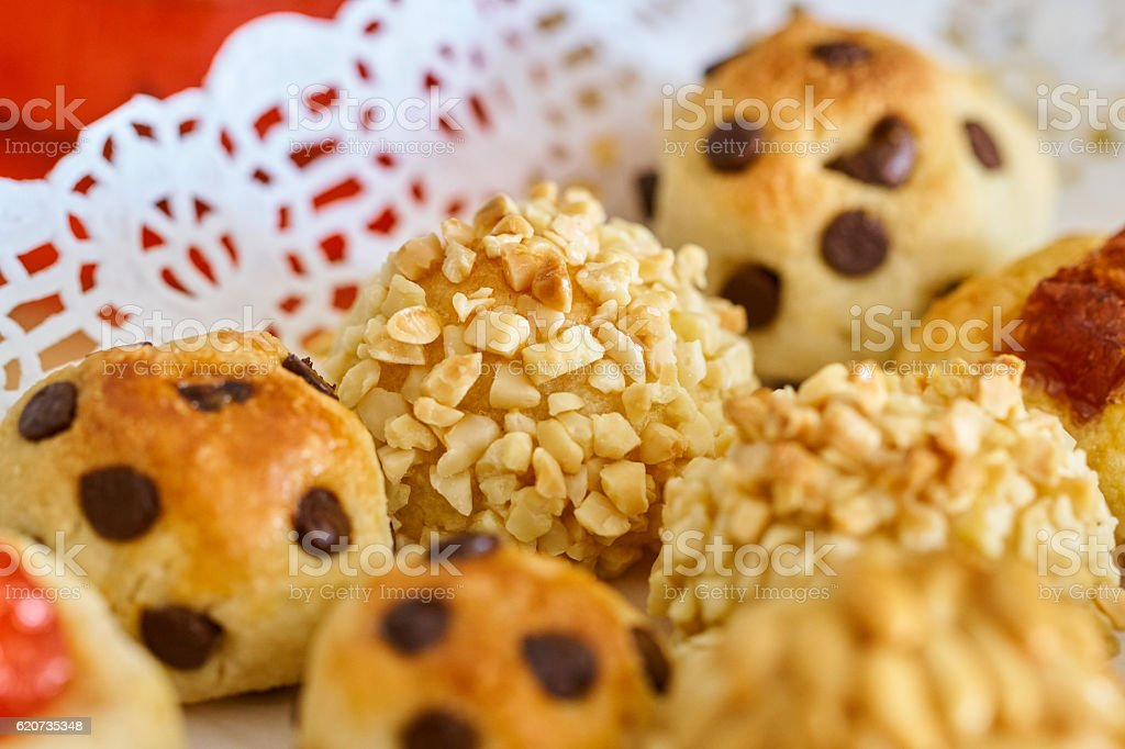 Almond and chocolate panellets home made tray stock photo