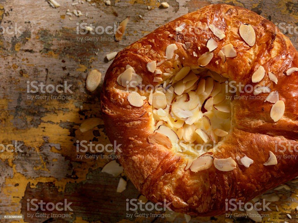 Almond and Custard Danish with Vanilla Icing stock photo