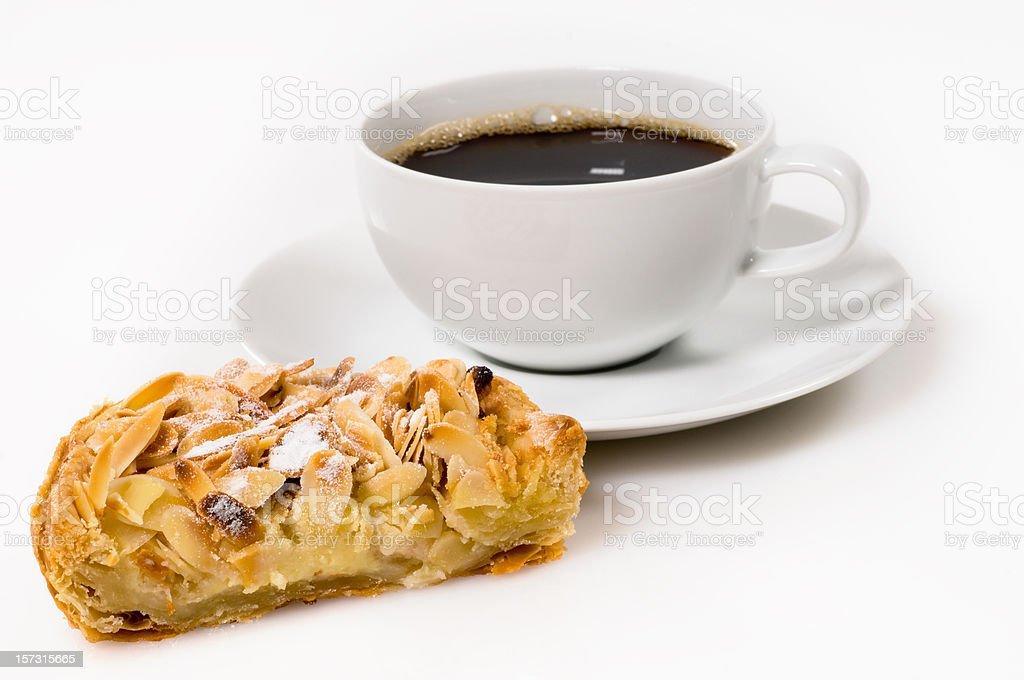 Almond, apple & custard tart, and coffee stock photo