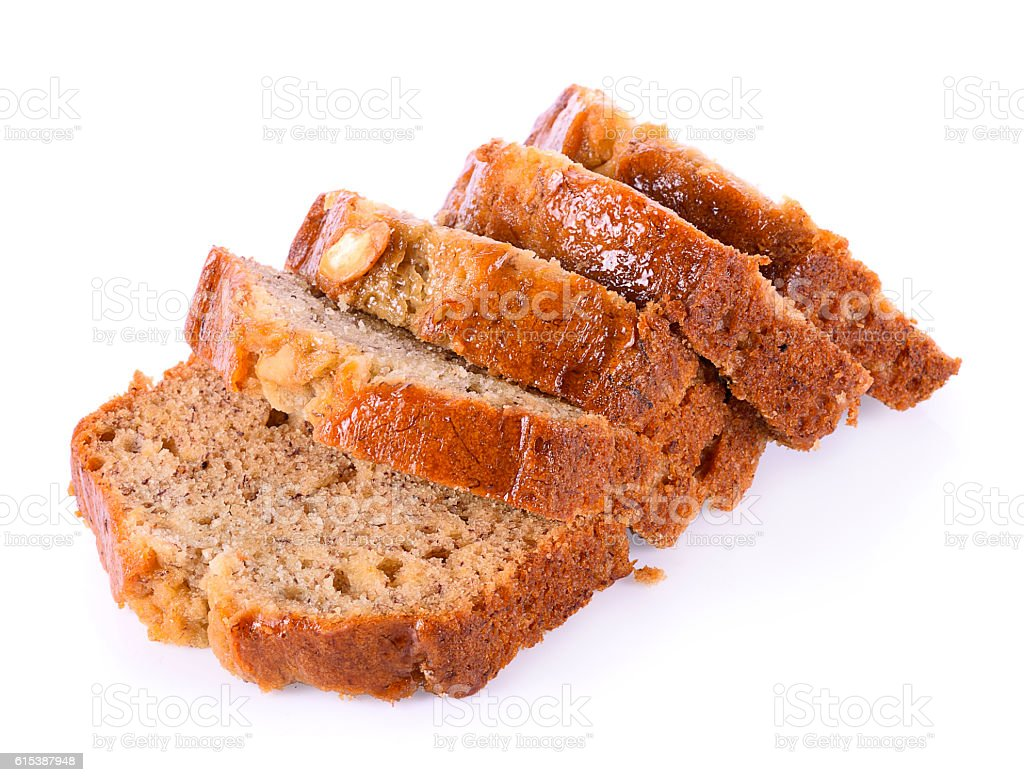 Almond banana bread on white background stock photo