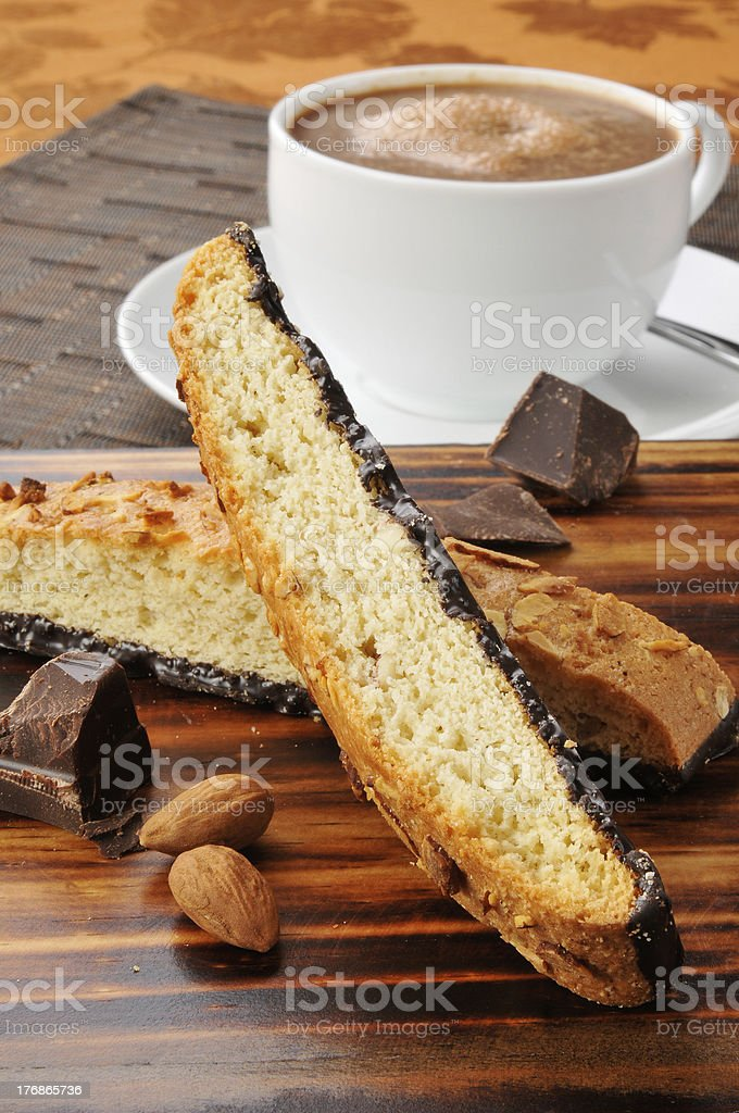 Almond biscotti and hot chocolate royalty-free stock photo