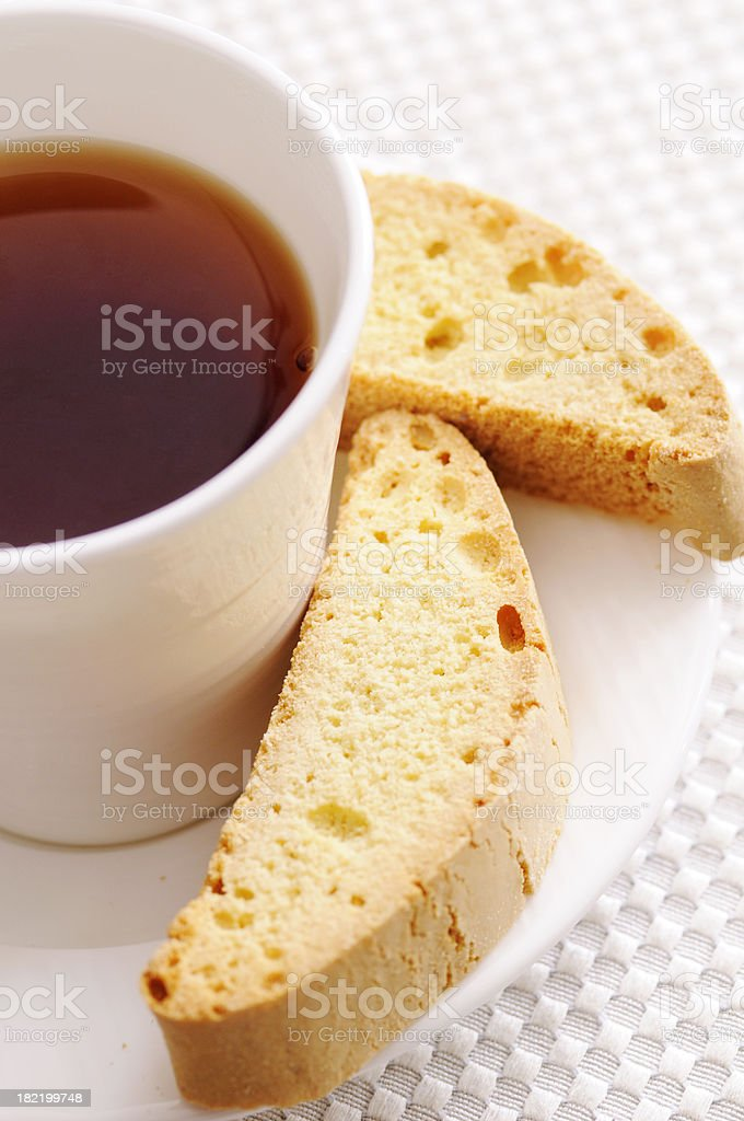 Almond Biscotti with Tea royalty-free stock photo