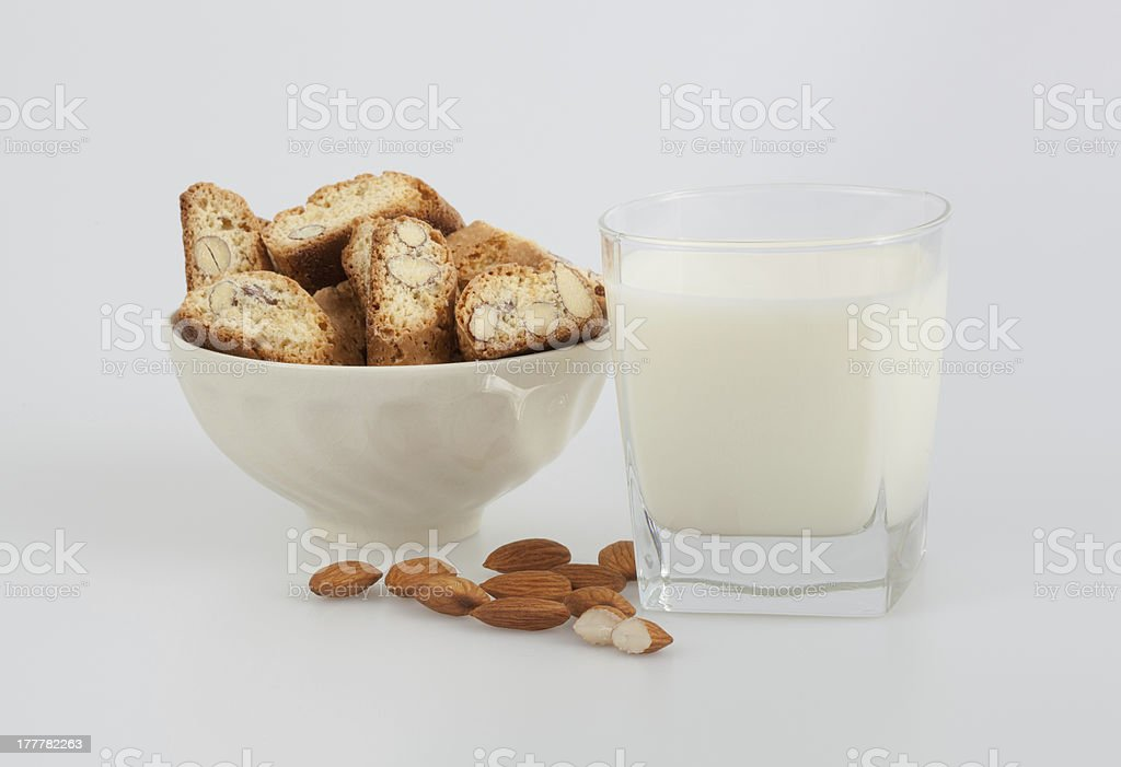Almond biscottis and milk royalty-free stock photo