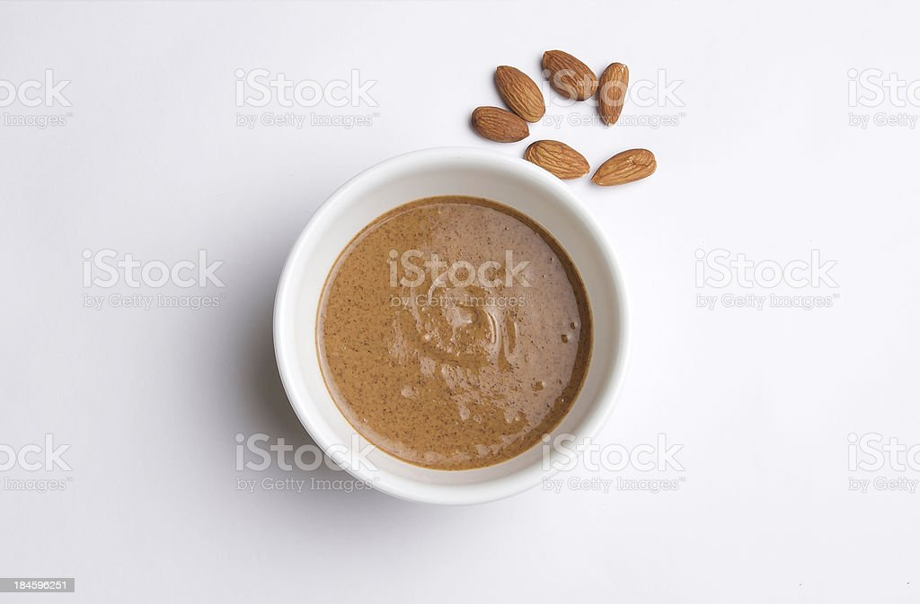 Almond Butter with almonds stock photo