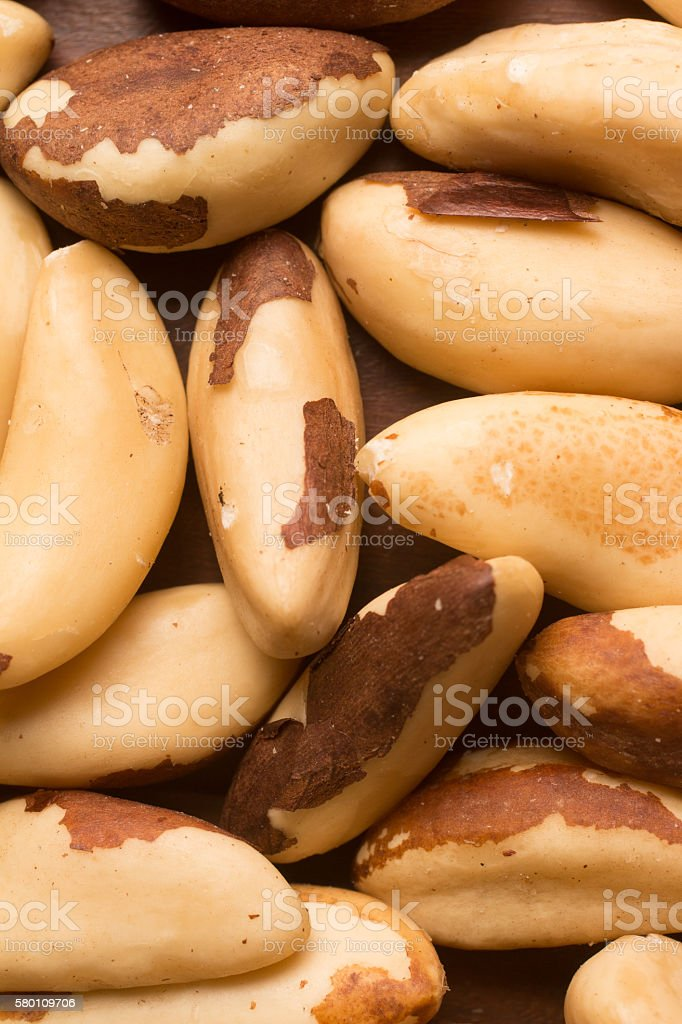 Almond, cashew and Para Castanha heart shaped stock photo