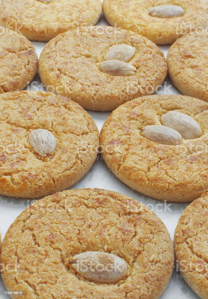 Almond cookies close-up vertical stock photo