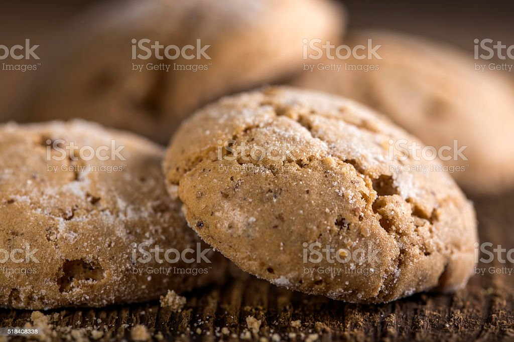 Almond ginger molasses cookies stock photo