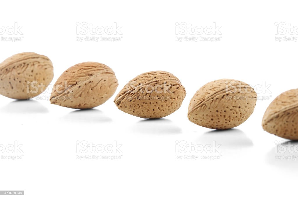 Almond in shell on white background stock photo