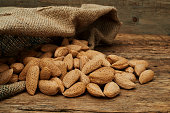 Almond nuts in a burlap bag