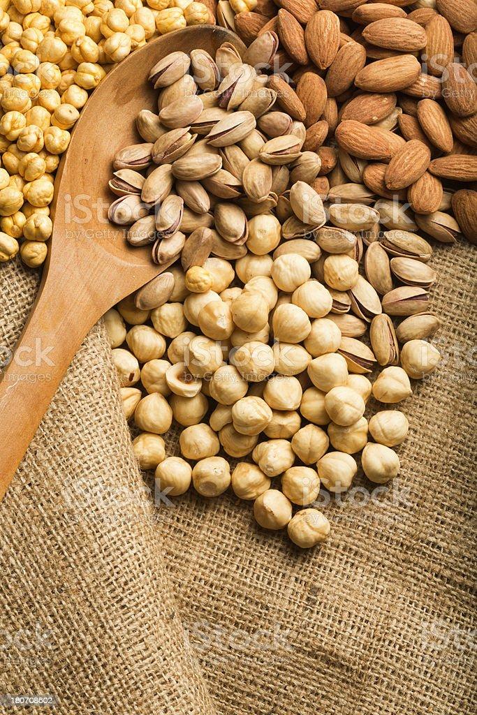 Almond, Nuts, Pistachio, Chickpeas royalty-free stock photo