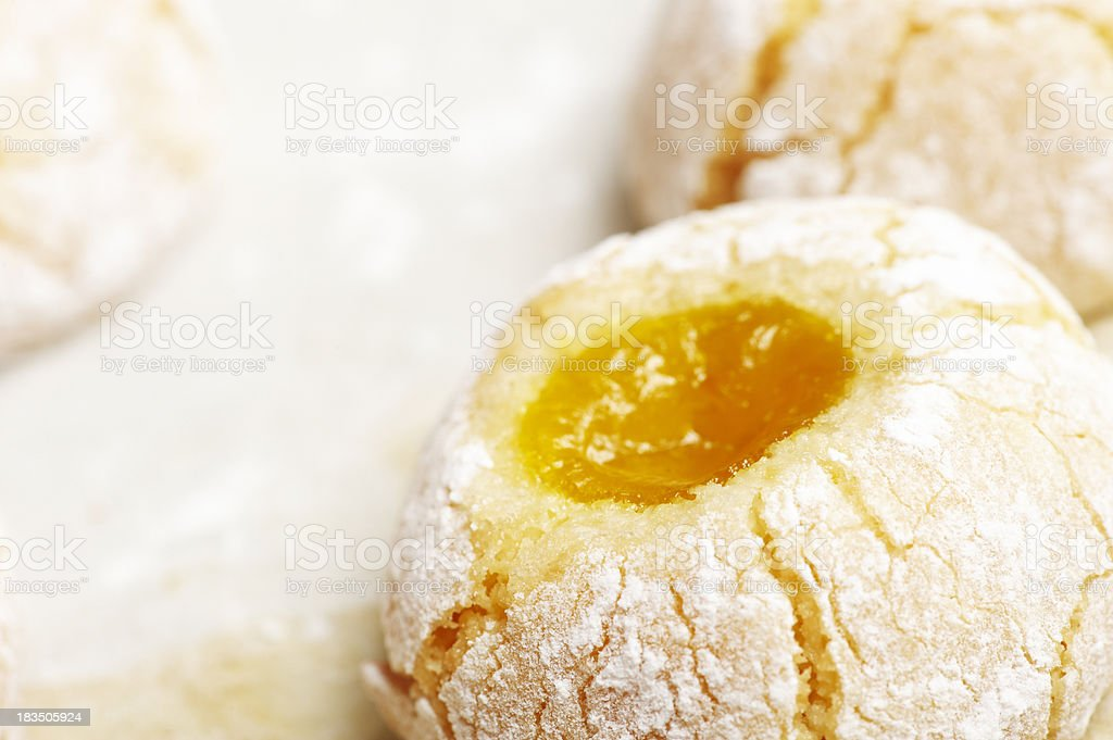 almond pastry dough biscuits with jam. royalty-free stock photo