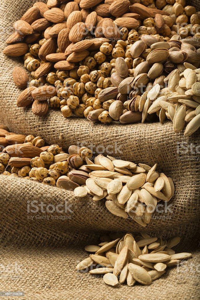 Almond, Pumpkin Seeds, Pistachio, Chickpeas royalty-free stock photo