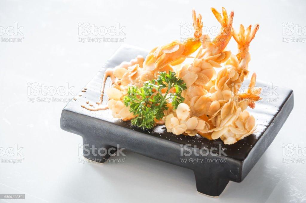 almond shrimp tempura stock photo