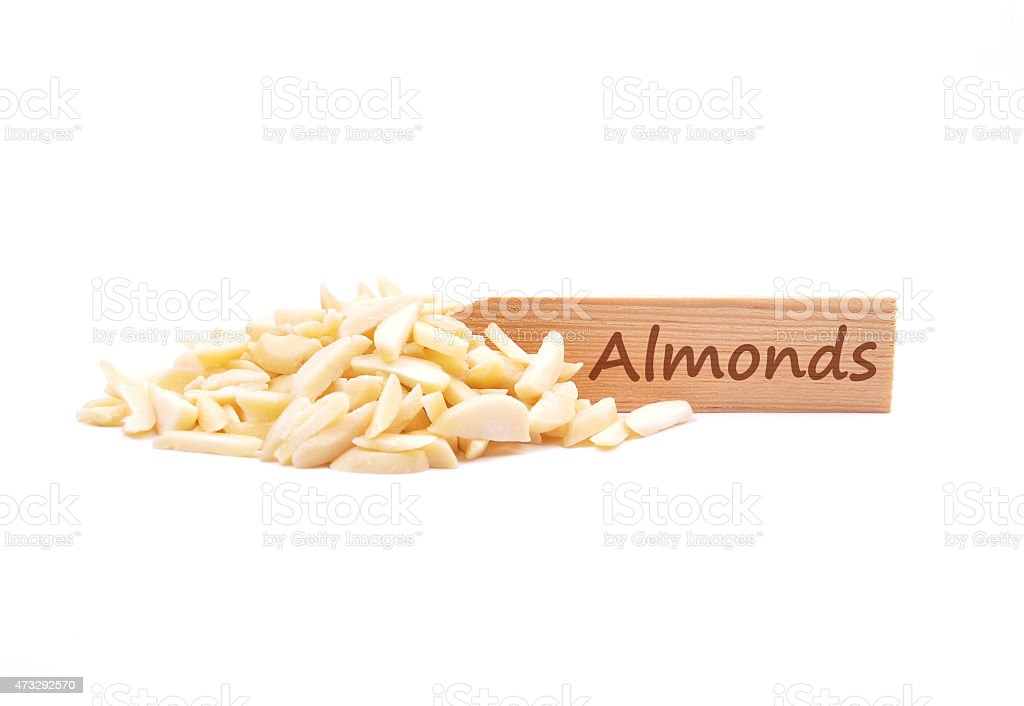 Almond slivers on plate stock photo
