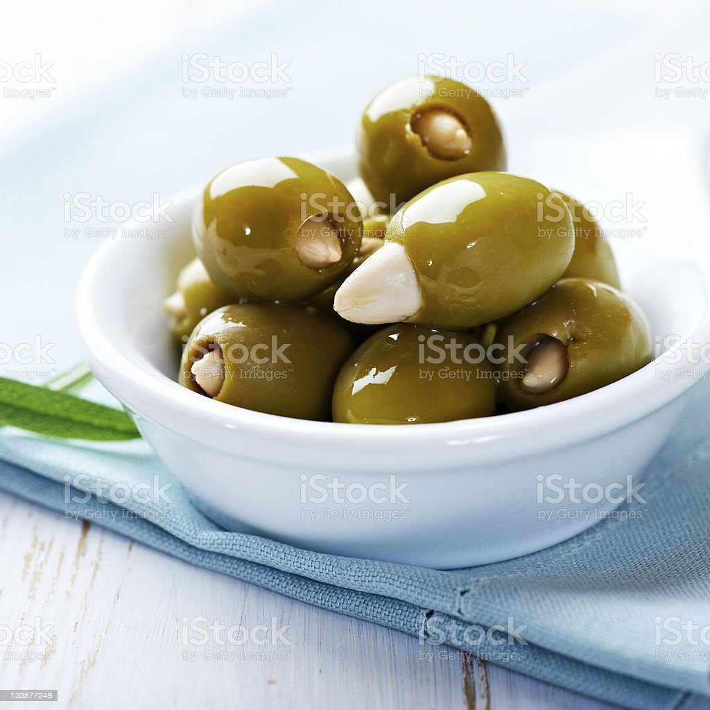 Almond stuffed green olives royalty-free stock photo