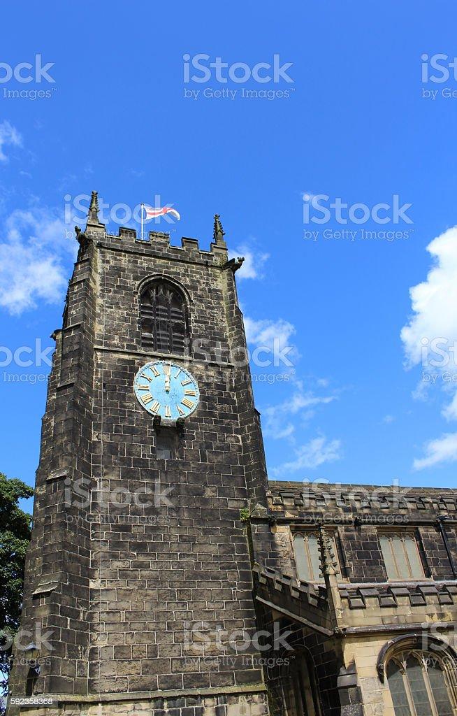 Almondbury Village Methodist Church clock tower stock photo