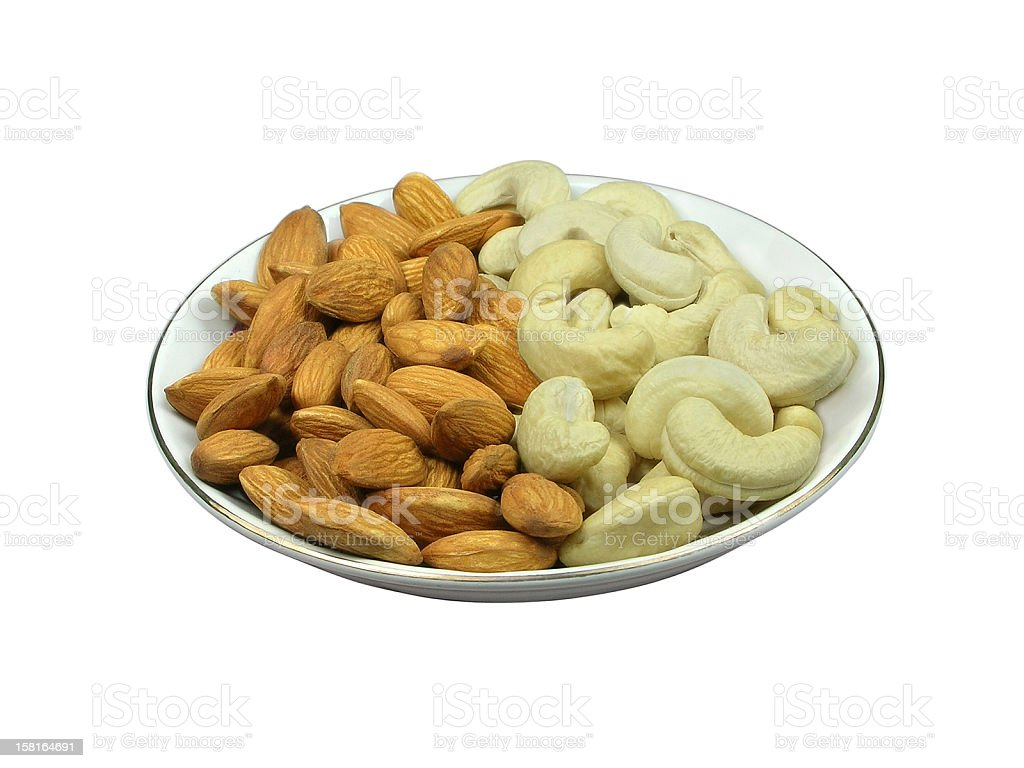 Almonds and Cashews royalty-free stock photo