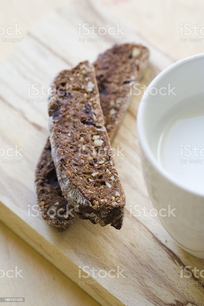 Almonds and Chocolate Cookies With Milk royalty-free stock photo