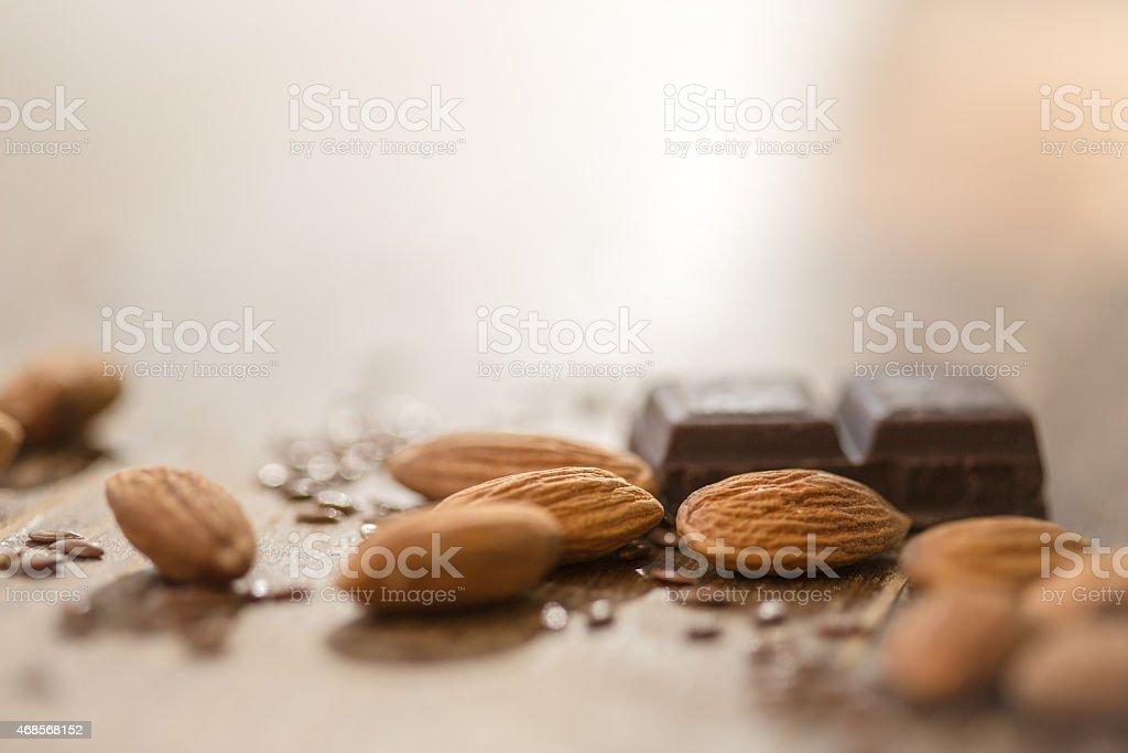 Almonds and chocolate stock photo
