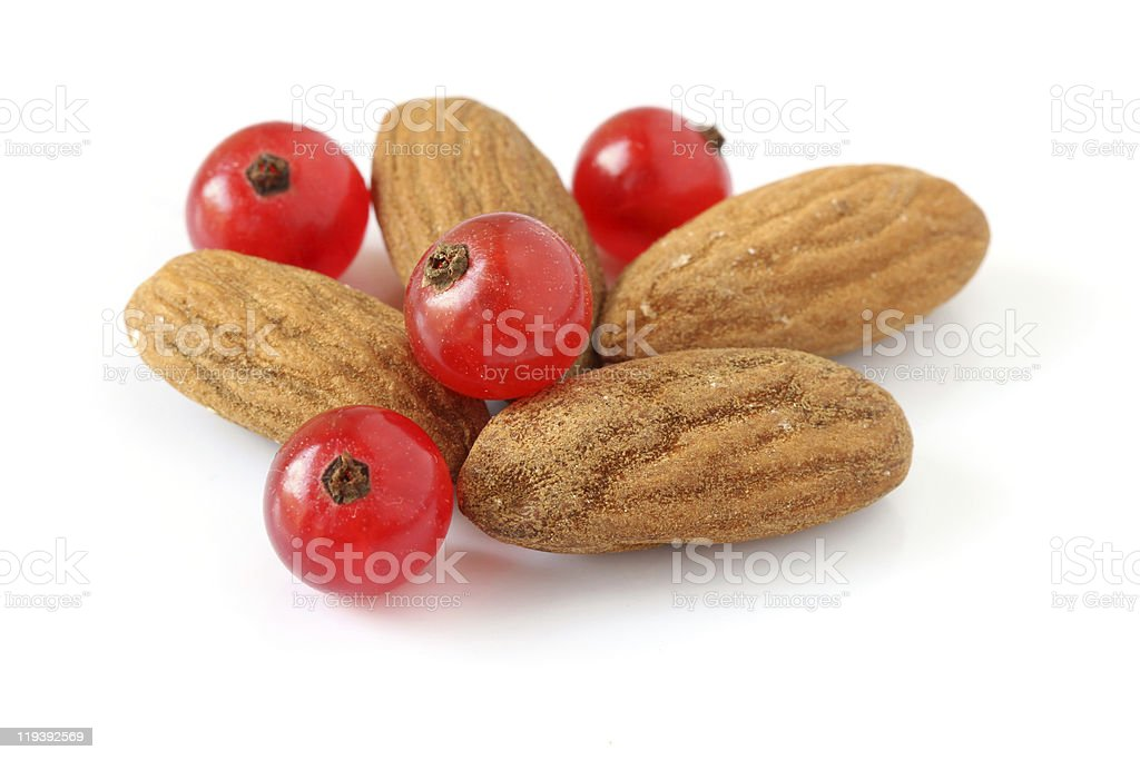 Almonds and currants royalty-free stock photo