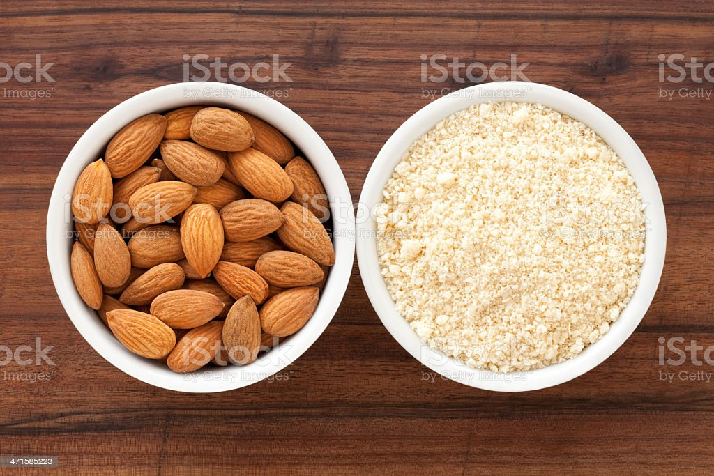 Almonds and flour royalty-free stock photo