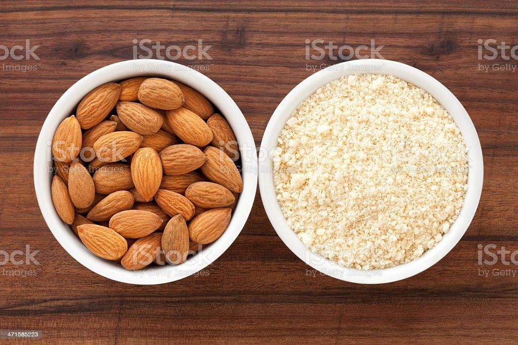 Almonds and flour stock photo