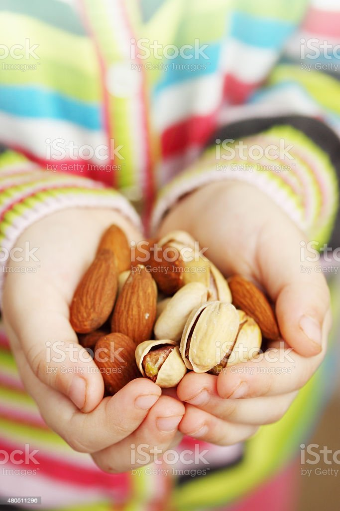 almonds and pistachios stock photo