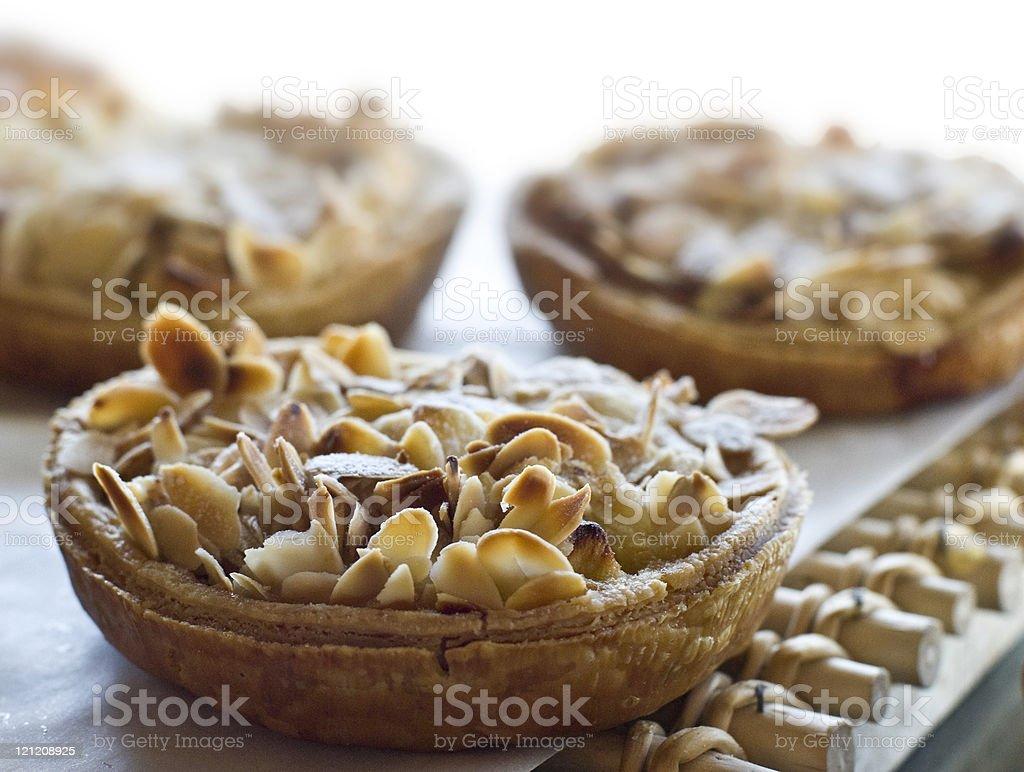 Almonds Apple Tart in a display window stock photo