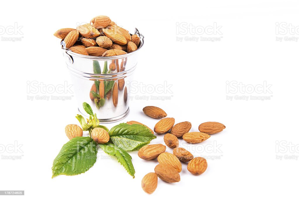 Almonds in a backet royalty-free stock photo