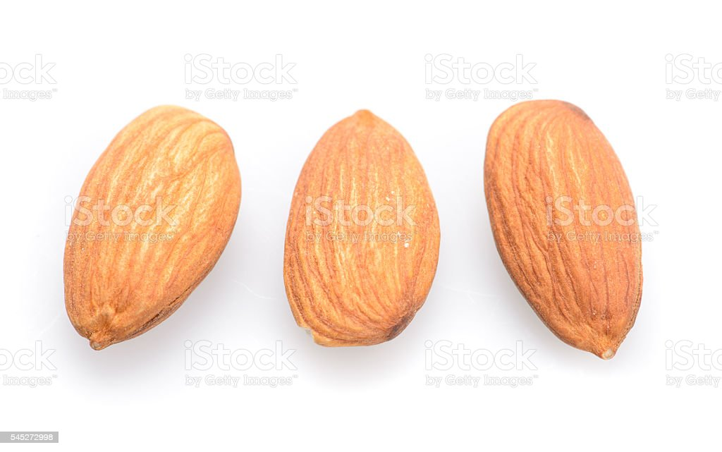 almonds isolated on the white background stock photo
