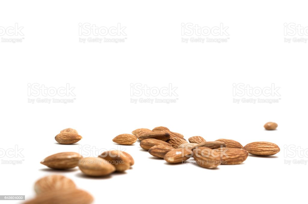 Almonds isolated on white background. selective focus. stock photo