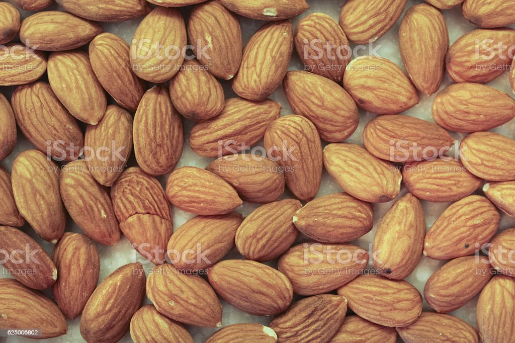 Almonds On A Kitchen Countertop, Close Up stock photo