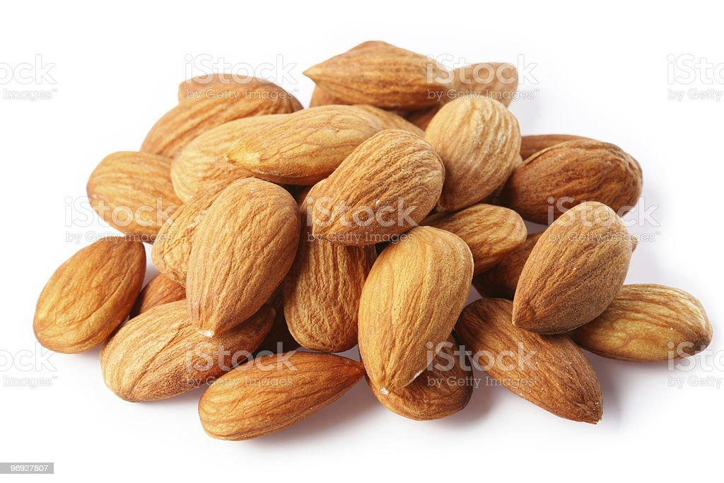 almonds on a white background stock photo