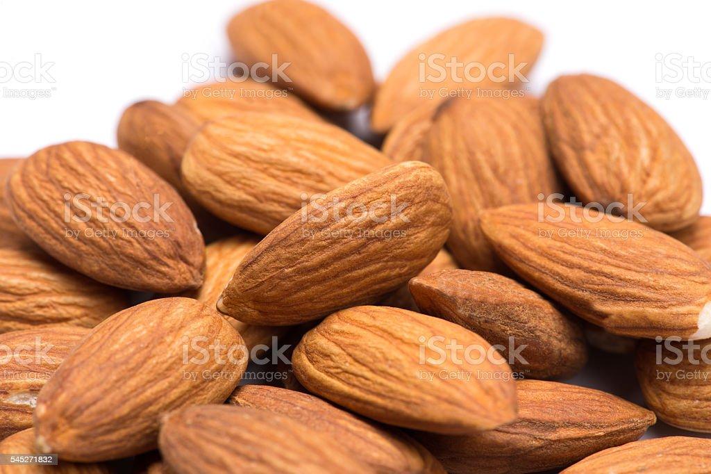 almonds on the white background stock photo
