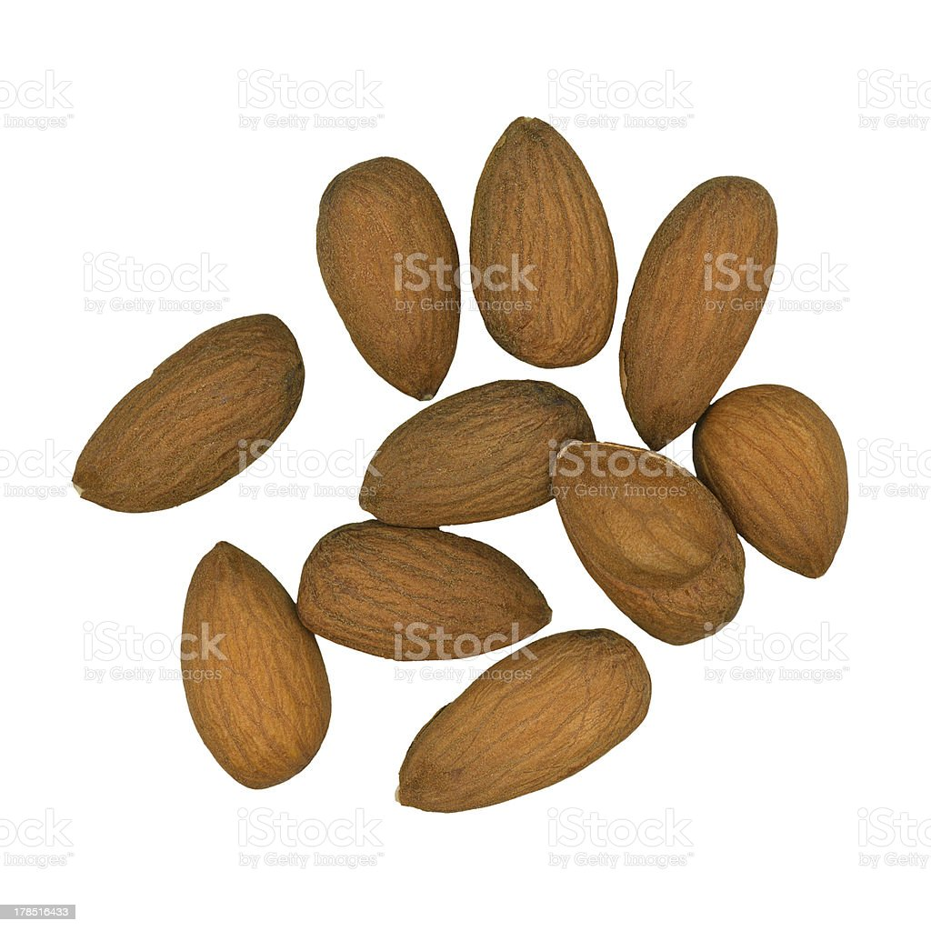 Almonds on White royalty-free stock photo