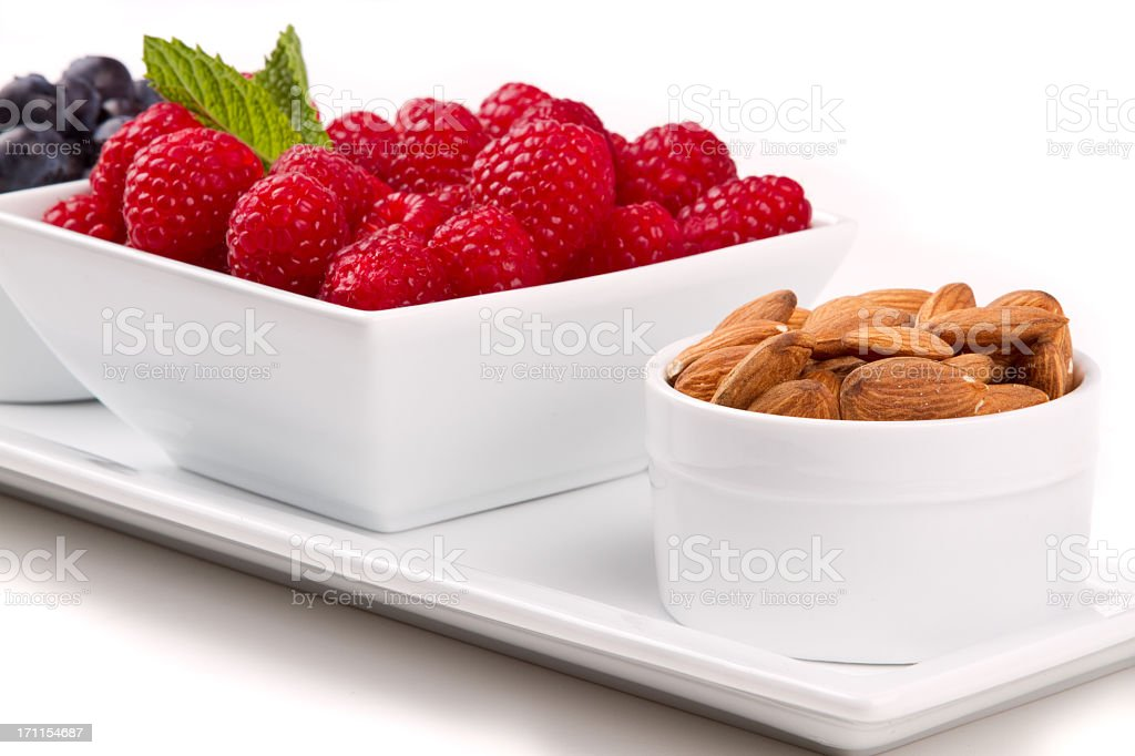 Almonds, Raspberries and Blueberries royalty-free stock photo