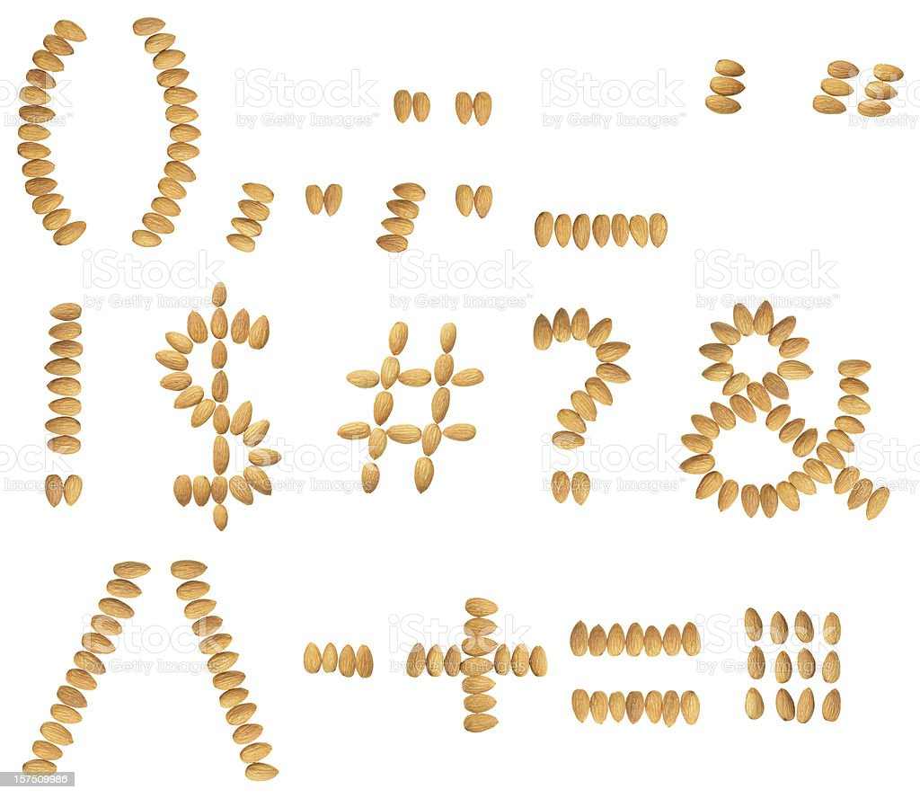 Almonds special characters stock photo