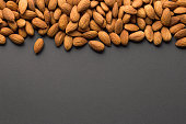 Almonds with dark copy space