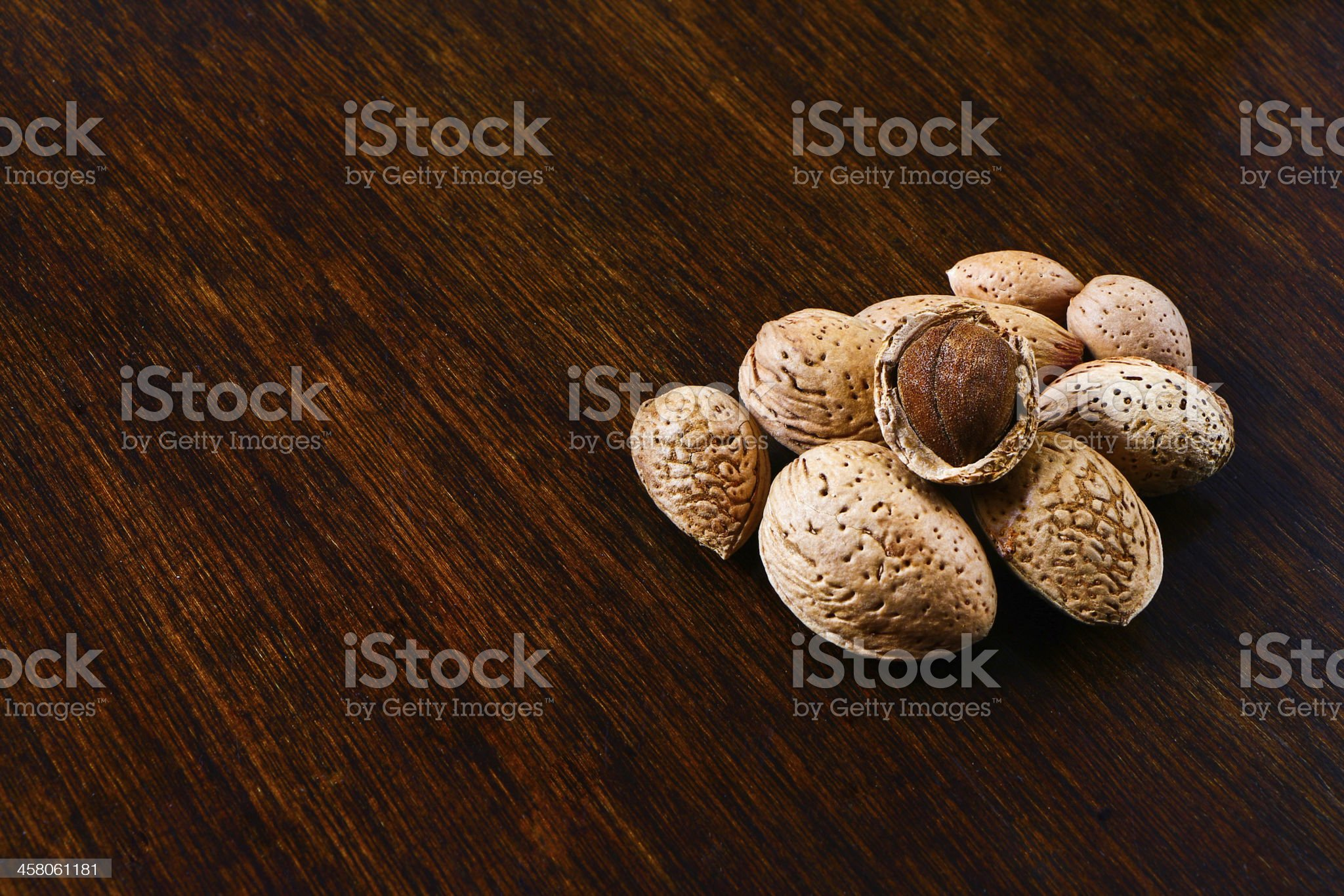 almonds with shell and shelled royalty-free stock photo