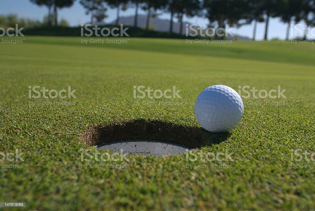 almost a hole in one stock photo