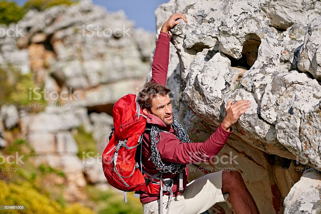 Almost at the top stock photo