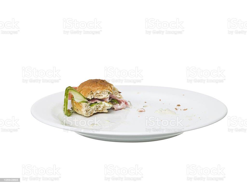 Almost eaten Sandwich stock photo