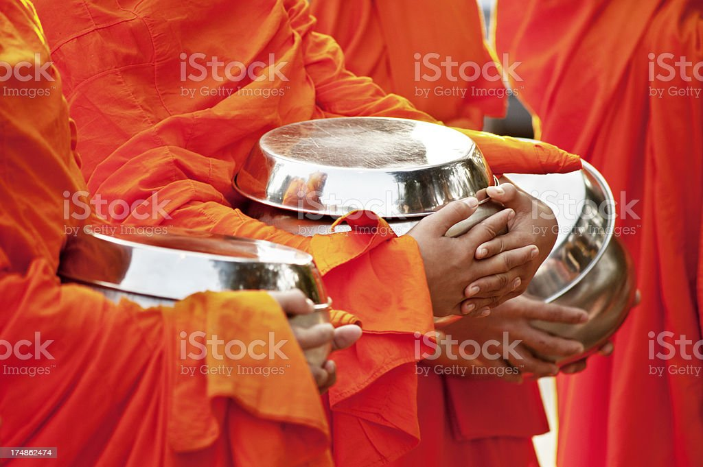 Alms for Monks royalty-free stock photo