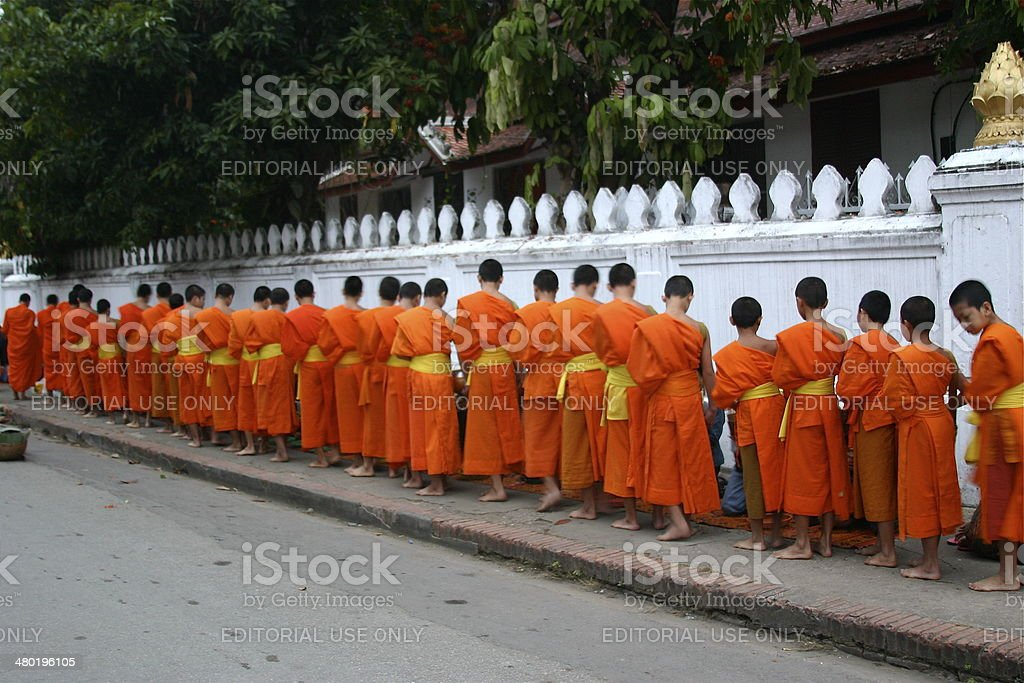 Alms Giving Ceremony in Luang Prabang stock photo